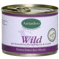 Nassfutter Amadeo Wild mit Kartoffeln, Preiselbeeren und Leinöl